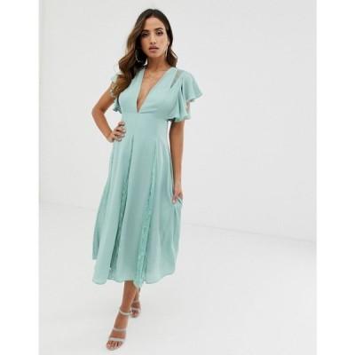 エイソス ASOS DESIGN レディース ワンピース ワンピース・ドレス midi dress with lace godet panels Sea green