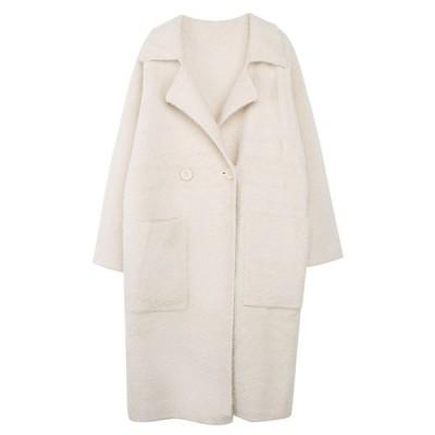 【未使用】ルーズ シャギー モヘア コート チェスターコート ロングコート【M・ホワイト】dw-54