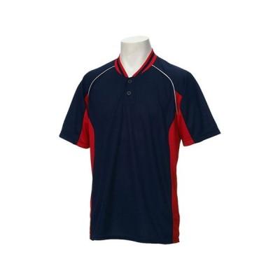ベースボールシャツ (ネイビーxレッド)  ASICS アシックス (BAD020-5023)