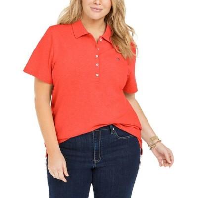 トミー ヒルフィガー カットソー トップス レディース Plus Size Piqué Polo Shirt, Created for Macy's Orange