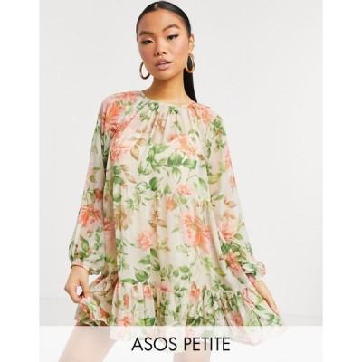 エイソス ミディドレス レディース ASOS DESIGN Petite tiered smock mini dress in light based floral エイソス ASOS