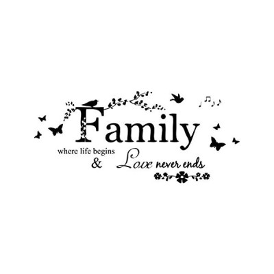 Blinggo Family Letter Quote Removable Vinyl Decal Art Mural Home Decor Wall