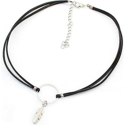アーバンアウトライアー Urban Outlier レディース ネックレス チョーカー Vintage Leaf Pendant Short Chain Choker Necklace Silver/Black
