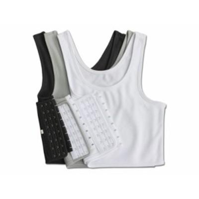 ポリエステル製 3段フック式 胸潰し ナベシャツ 男装コスプレ 吸湿性/黒/Lサイズ 送料込