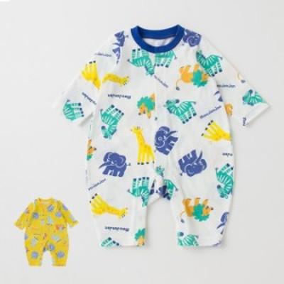 日本製 抗菌防臭素材 Mou jon jon アニマル プリント ロンパース 赤ちゃん ベビー用品 長袖 かわいい おしゃれ 天竺 男の子 女の子