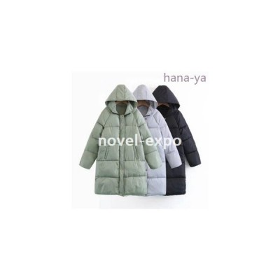 レディースジップアップ中綿フードコートロング丈暖かいカジュアル厚手防寒中綿コート冬アウター