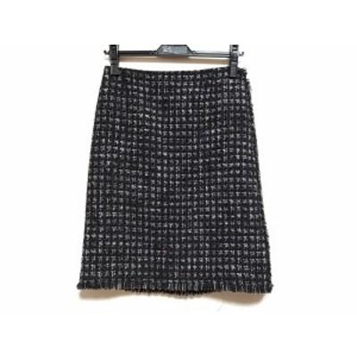 ランバンコレクション LANVIN COLLECTION スカート サイズ38 M レディース 美品 - 黒×ライトグレー ひざ丈【中古】20210119