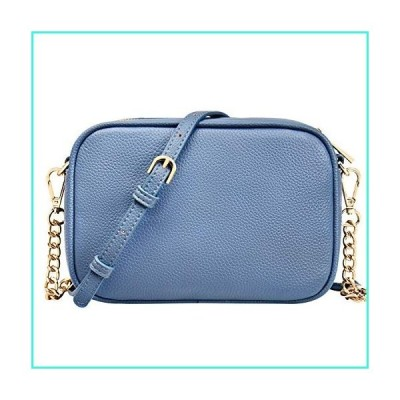 【新品】Women's Crossbody Bag Genuine Leather Crossbody Purse Bags for Women Teens Zipper Crossbody Shoulder Handbag - Blue(並行輸入品)