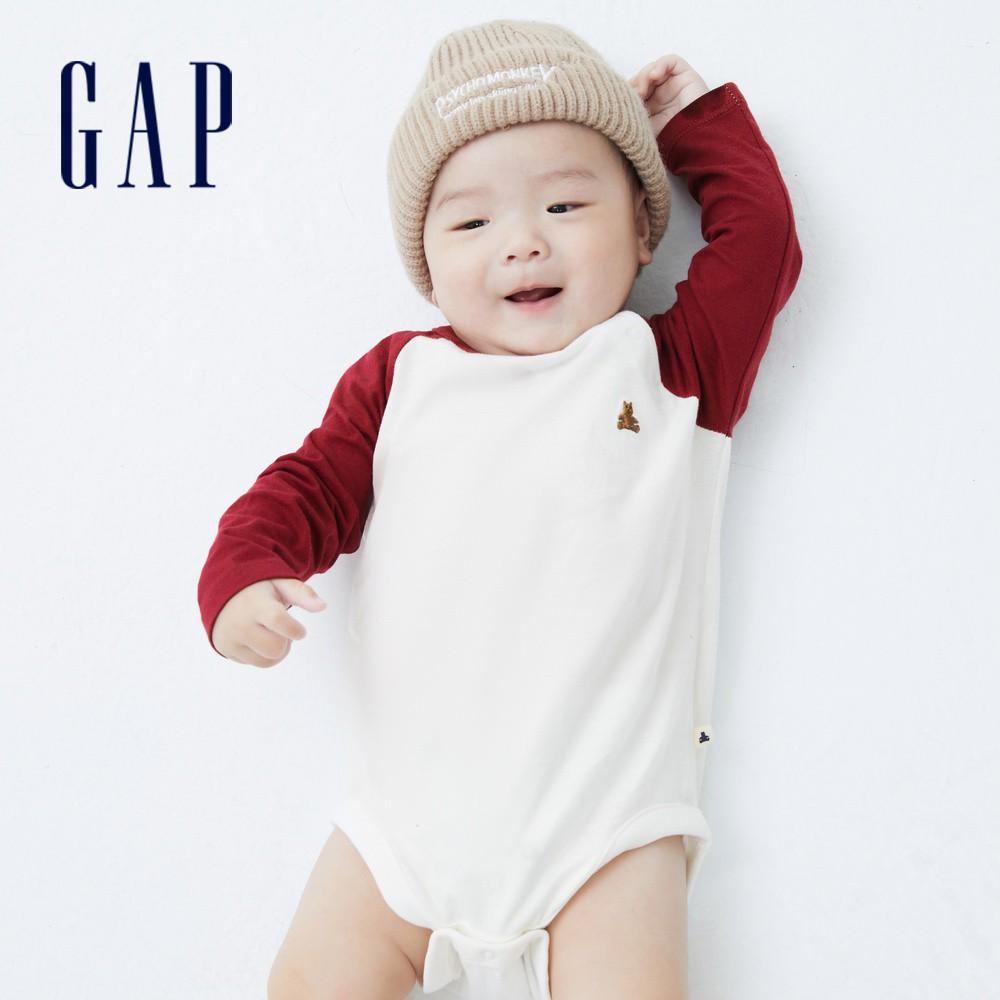 Gap 嬰兒 棉質撞色插肩袖長袖包屁衣 663869-紅白拼接