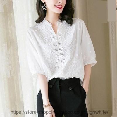 レディースブラウス40代きれいめ上品春夏白シャツ五分袖ブラウスレース大きいサイズvネックトップス韓国風オシャレTシャツ30代