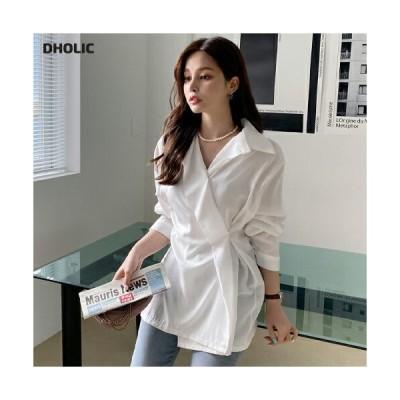 トップス シャツ ラップデザイン ラップシャツ 長袖 雰囲気 大人 春 秋 韓国 ファッション