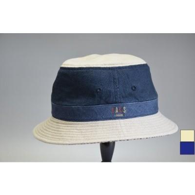 メンズハット 下向きツバ バケットハット ダックス ツートン ネイビー 麻  ベージュ 大きいサイズ 小さいサイズ S〜LL 夏 紳士帽子 D1365
