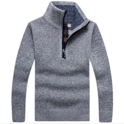 4色  メンズ ニット セーター 長袖   ケーブル ケーブル編み トップス カジュアル  個性  立て襟   無地   厚手  お兄系  暖かい 秋冬
