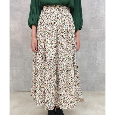 スカート 【WEB限定】フルーレットプリント切替ロングスカート