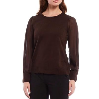 カルバンクライン レディース Tシャツ トップス Mixed Media Fine Gauge Knit Chiffon Sleeve Top Coffee Bean