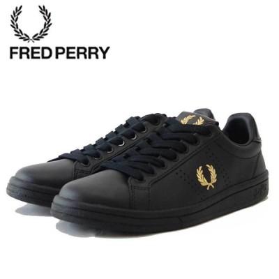 FRED PERRY フレッドペリー  B 1251 102(ユニセックス)B721 LEATHER TAB カラー:BLACK / METALLIC GOLD 天然皮革 ローカットスニーカー テニスシューズ