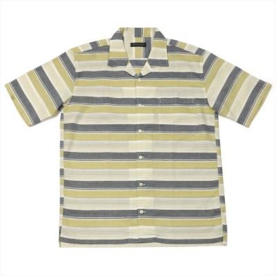 メンズ カジュアルシャツ 半袖 オープンカラー 綿100% ベージュ系ボーダーストライプ