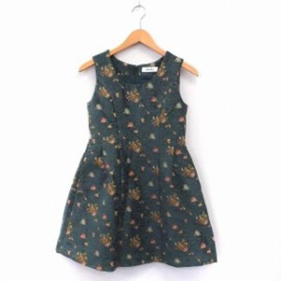 【中古】ダズリン dazzlin ワンピース ドレス ミニ フレア 花柄 バックジップ S グリーン /ST38 レディース