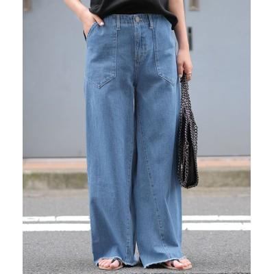 【アンドジェイ】 S~Lサイズ裾フリンジ立体シルエットデニムワイドベイカーパンツGパン レディース ブルー S ANDJ