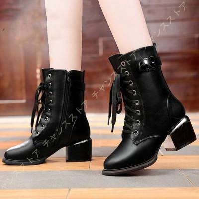 ブーツ レディース ショートブーツ ブーティー ハイヒール ラウンド トゥ シンプル 履きやすい 黒 大きいサイズ OL オフィス 通勤 通学 歩きやすい 7.5CMヒール