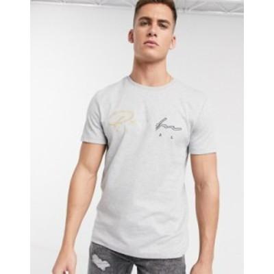 リバーアイランド メンズ シャツ トップス River Island t-shirt with prolific embroidery in gray Grey
