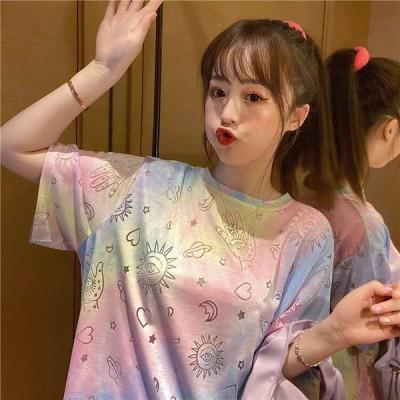 Tシャツ カットソー 半袖 タイダイ プリント カジュアル ゆったり ビッグシルエット 春夏