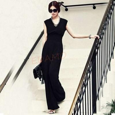 オールインワン パンツドレス 黒 シフォン 夏 ノースリーブ ワイドパンツ ガウチョパンツ フォーマル パーティー 二次会 お呼ばれ