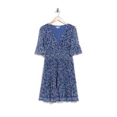 マックスタジオ レディース ワンピース トップス V-Neck Flutter Sleeve Dress BLUBKDOR-BLUE/BLACK DITSY ORCHID