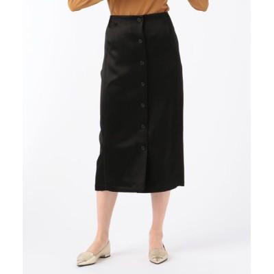 TOMORROWLAND/トゥモローランド ウェイビーサテン フロントボタンスカート 19 ブラック 34(7号)