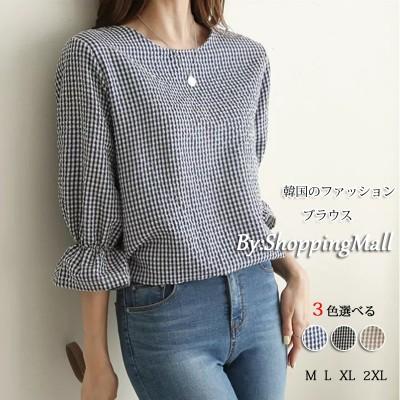 M112 韓国ファッション七分袖ラウンドネック千鳥格子プルオーバーブラウス女性2021年夏小フレッシュロータスリーフスリーブルーズダブテールシャツ3色