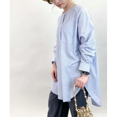 【フレディアンドグロスター】 ノーカラーチュニックシャツ レディース ブルー系3 38 FREDY&GLOSTER