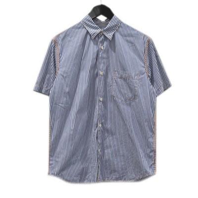 COMME des GARCONS HOMME 20SS ストライプ ステッチシャツ ブルー×ホワイト×オレンジ サイズ:XS (堀江店) 20082