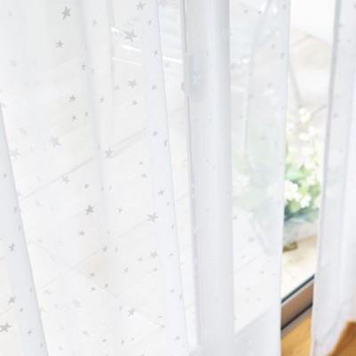 透け感のある星柄レースカーテン/ホワイト/幅100×丈73(2枚組)