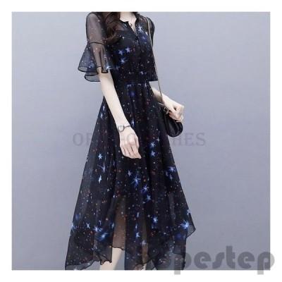 ワンピースロングかわいい星柄シフォンフレア袖個性的黒パーティードレス10代20代30代お呼ばれ春夏