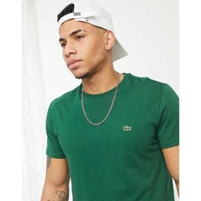 ラコステ メンズ Tシャツ トップス Lacoste logo pima cotton t-shirt in dark green Green