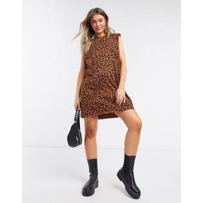 エイソス レディース ワンピース トップス ASOS DESIGN padded shoulder sleeveless mini t-shirt dress in leopard print