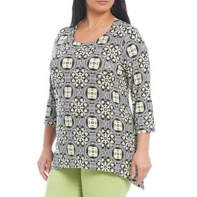 ルビーアールディー レディース Tシャツ トップス Plus Size Vibrant Geo Foulard Print 3/4 Sleeve Handkerchief Hem Top