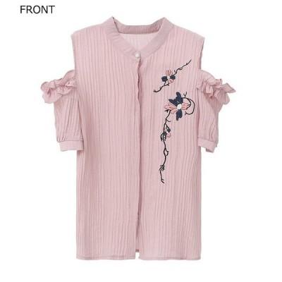 レディース トップス シャツ 肩開き 肩だし 半袖 綿 コットン シンプル 花柄 刺繍 エレガント セクシー カジュアル 大人可愛い フェミニン おし