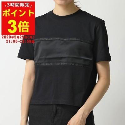 Calvin Klein カルバンクライン J20J213282 半袖Tシャツ カットソー ショート丈 ロゴ刺繍 切り替え クルーネック BAE/CK-Black レディース