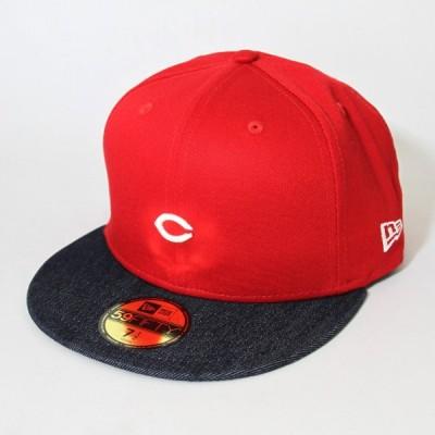 ニューエラ NEWERA 帽子 59FIFTY NPB カスタム 広島東洋カープ ミニロゴ レッド インディゴデニムバイザー
