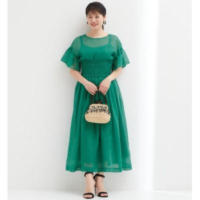 【ティアラ/TIARA】 シアーロングギャザースカート(シャーリングベルト付き)
