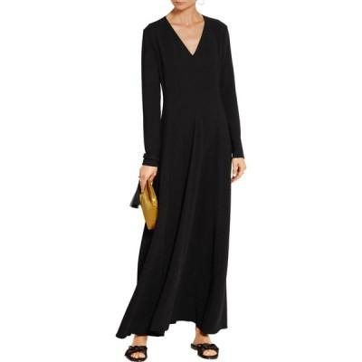 ワンピース ザ・ロウ THE ROW Seri MAXI Dress Stretch Cady Gown V Neck Black 2 6
