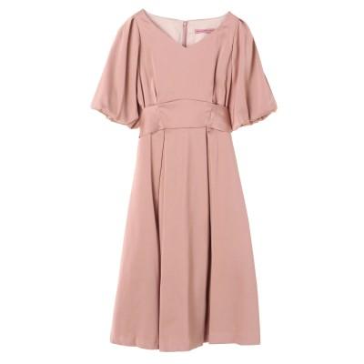 バルーンスリーブサテンリボンドレス