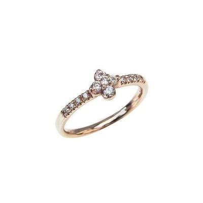 ダイヤモンドリング 指輪 フラワーモチーフ 花 ピンクゴールド k10 ダイヤモンド 0.14ct 送料無料 アクセサリー ジュエリー 記念日 プレゼント