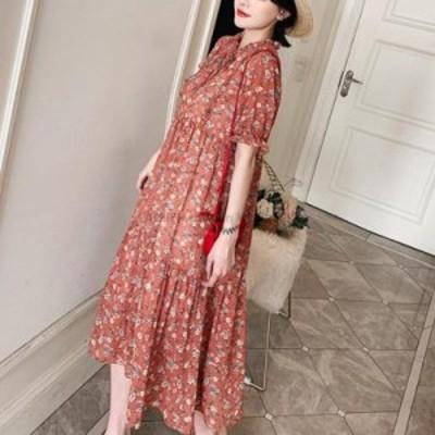 レディースファッション ホットセール2020フローラルルーズLサイズの女性のカジュアルな春と夏の新しい半袖大きいサイズのドレス  Hot Sa