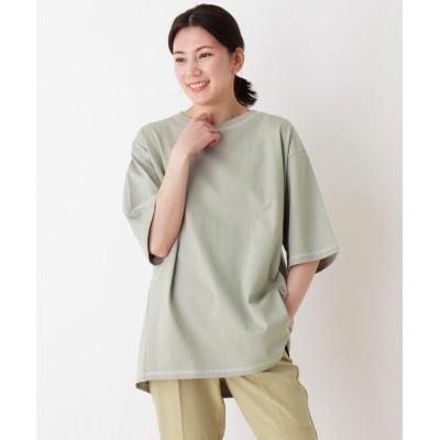 SHOO・LA・RUE(シューラルー) USAコットン配色ステッチラウンドヘムTシャツ