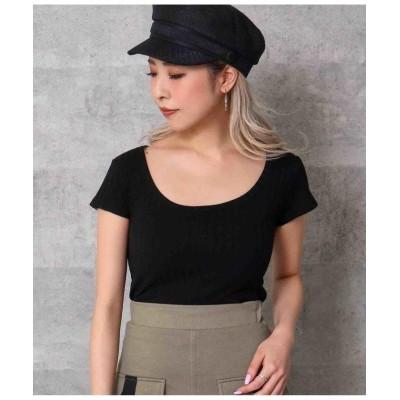 (ANAP/アナップ)ワイドリブタイトTシャツ/レディース ブラック