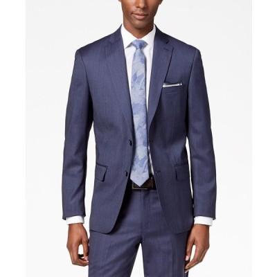 ダナ キャラン ニューヨーク ジャケット&ブルゾン アウター メンズ Men's Modern-Fit Stretch Textured Wool Suit Jacket Blue