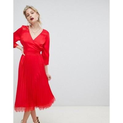 リクオリッシュ レディース ワンピース トップス Liquorish pleated skirt midi dress with lace trim Red