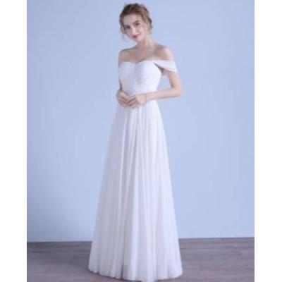 ロングドレス スレンダーライン パーティードレス ウエディングドレス 春夏 結婚式 二次会 披露宴 ホワイト 大きいサイズ ロング丈 マキ